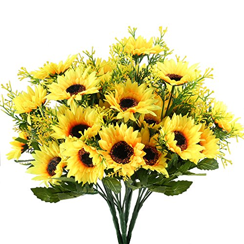 Nahuaa 4PCS Artificial Sunflowers Bundles Fake Silk Flowers Bouquets Fuax Floral Table Centerpieces Arrangements Decor Wedding Home Kitchen Office Windowsill Spring Decorations
