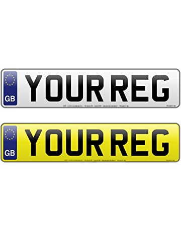 Pair Oblong and Square 11x8 Pressed Number Plates Metal Car REG UK GB Road Legal