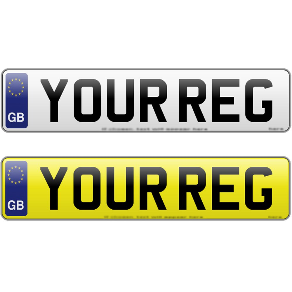 PAIR GB NUMBER PLATES WITH GB BADGE REGISTRATION PLATE 520mm x 111mm NENPP