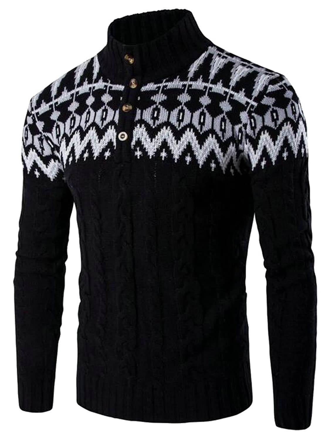 CBTLVSN Mens Knitting High Neck Solid Slim Long Sleeve Pullover Sweaters