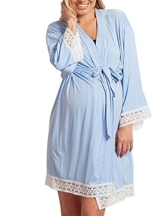 66599d3ac3732 Women Maternity Kimono Robes Lightweight Lounge Robe Nursing Bathrobe  Sleepwear Blue