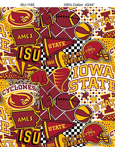 Iowa State University Graffiti Printed Cotton Fabric with POP Art-Newest Pattern-NCAA Cotton Fabric