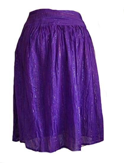 15dda95d88 Image Unavailable. Image not available for. Color: Sacred Threads Purple  Broomstick Metallic Cotton Lined Skirt XL