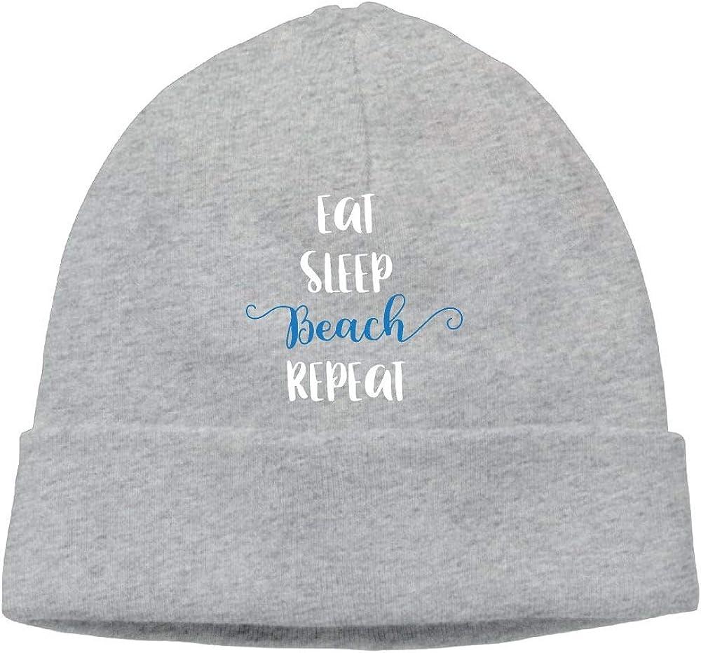 COLLJL8 Men//Women Eat Sleep Beach Repeat Outdoor Warm Beanies Hat Soft Winter Knit Caps