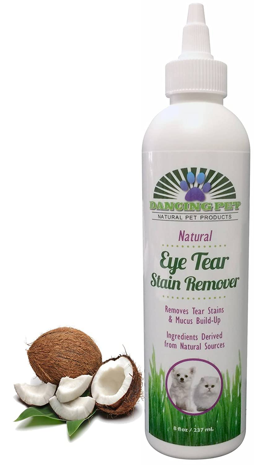 Eye Tear Stain Remover Natural & Safe – Removes Fur Stains + Mucus, Protein Buildup, Boogers Gunk & Goop for Clean Eyes, Mouth, Paws on Dogs & Cats – Guaranteed – by Dancing Pet - 8 Ounces