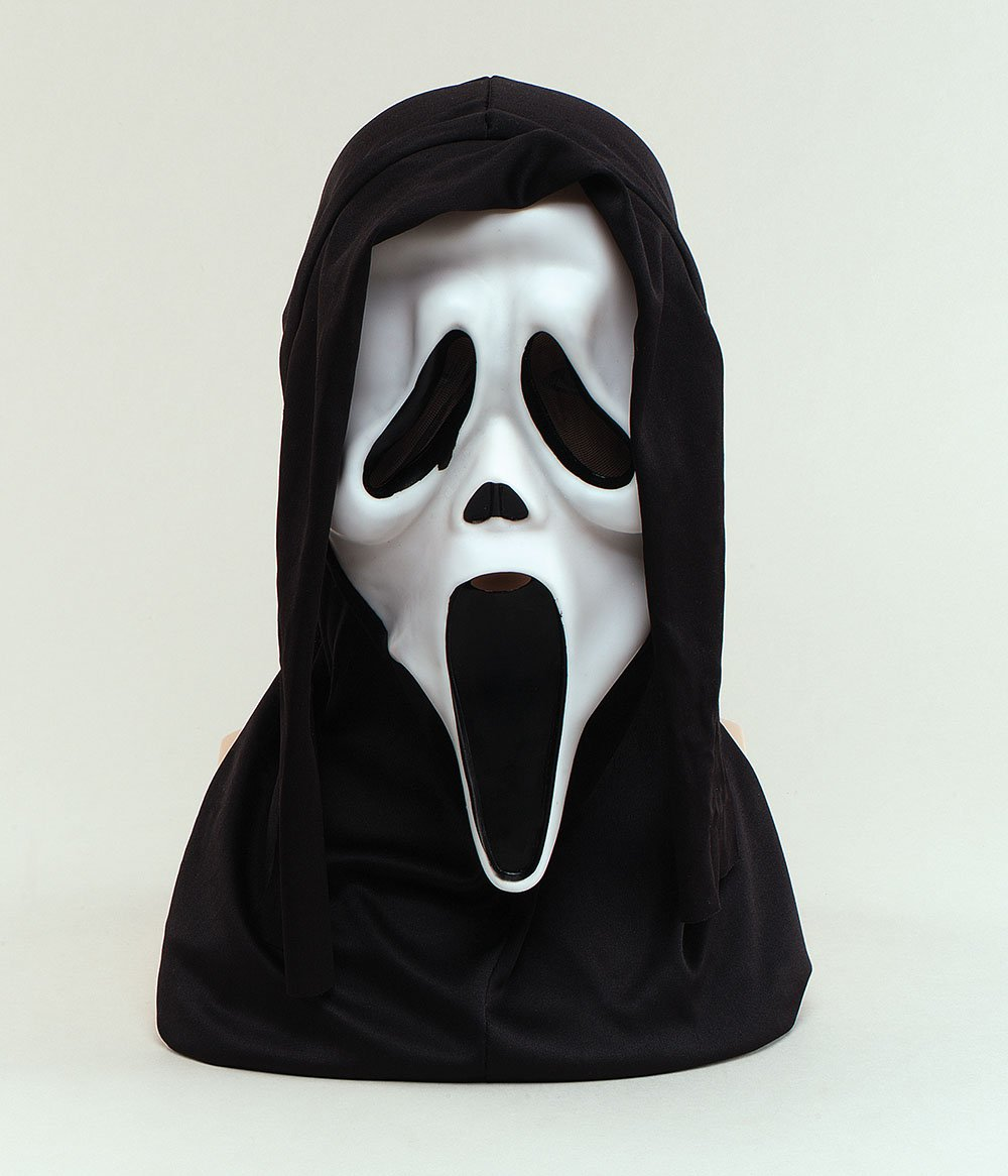 Halloween White Scream Face Mask With Hood Scary Fancy Dress ...