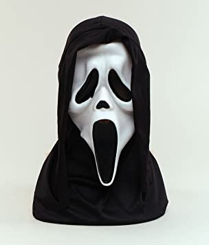 Halloween White Scream Face Mask With Hood Scary Fancy Dress (máscara /careta)