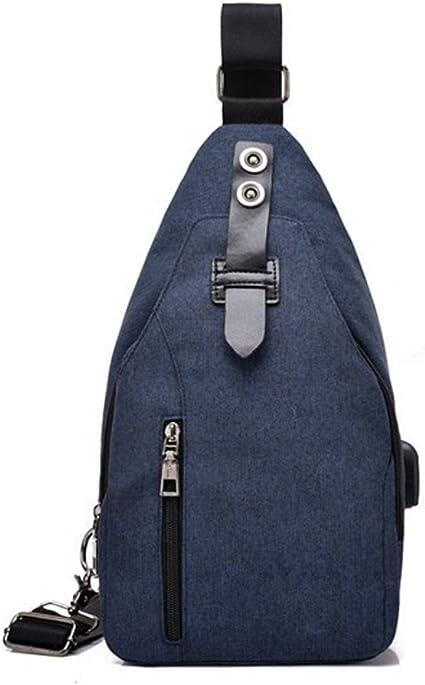 Ndy Smart Usb Ladekabel Brust Bag Schulter Kreuz Tasche Casual Diebstahlschutz Tragen Wasserdicht Atmungsaktiv Brust Tasche Blau Sport Freizeit