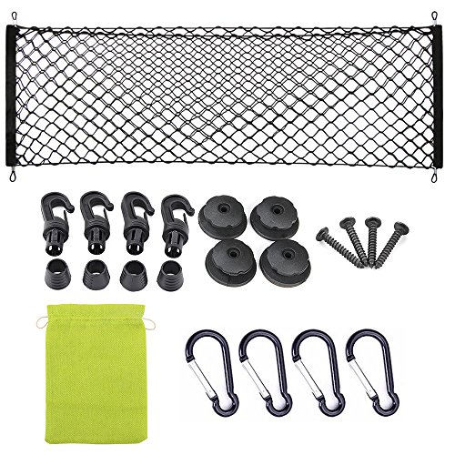 (AndyGo Rear Cargo Trunk Storage Organizer Net for Car Plus mounting Points)