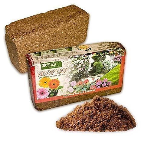 Elixir Fibra de Coco Turba Gratis Orgánico Compost Bloque Expande para 11 Litros Fertilizante Opcional Sin De bloques 5: Amazon.es: Jardín