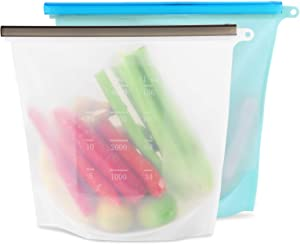 Reusable Food Storage Bags, Thick Silicone Bags, Freezer safe, Leak-Proof and Zipper Design, Airtight Seal bags for Marinate Food, Fruit Cereal, Vegetables, Meat, Snacks (2 Extra Large)