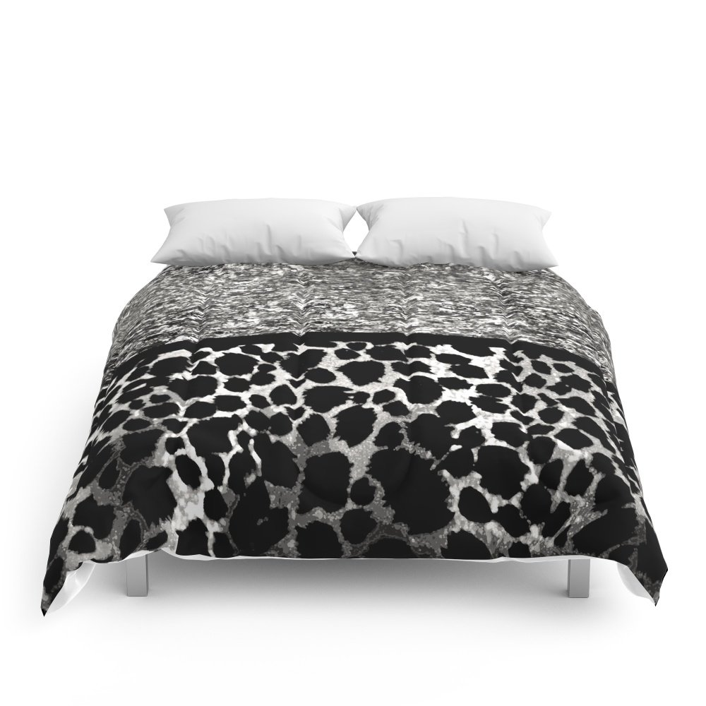 Society6 Animal Print Leopard Silver And Black Comforters King: 104'' x 88''