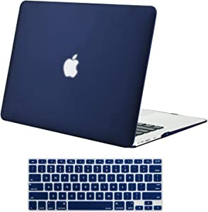 MOSISO Plastic Hard Shell Case & Keyboard Cover Skin Only Compatible with MacBook Air 11 inch (Models: A1370 & A1465), Navy Blue