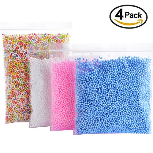 Foam Balls for Slime - Colorful Styrofoam Balls Beads Mini 0.1-0.18 inch (30000 pcs)- Decorative Ball Arts DIY Crafts Supplies For Homemade Slime, Kid's Craft, Wedding and Party Decoration (4 Pack) - 0.1% Suspension