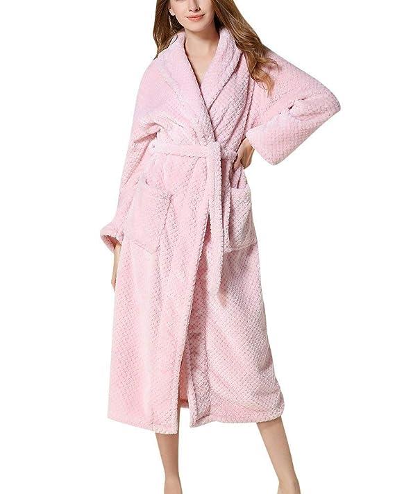 Batas Unisex Otoño Invierno Hombre Camisones Mujer Elegantes Moda Casuales Modernas Casual Caliente Pijamas Mujer Manga Larga V-Cuello con Bolsillos ...