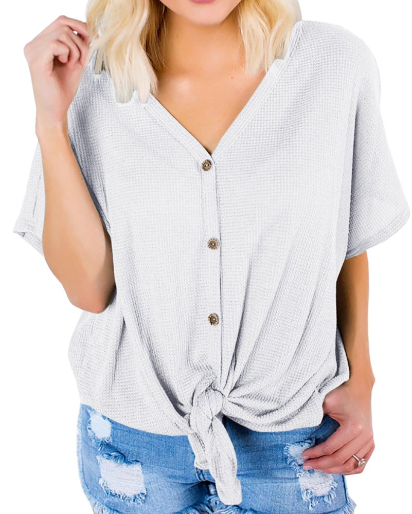 Imily Bela Womens Casual Tie Knot Button Down Tunic Shirt Knitted Short Sleeve Tees