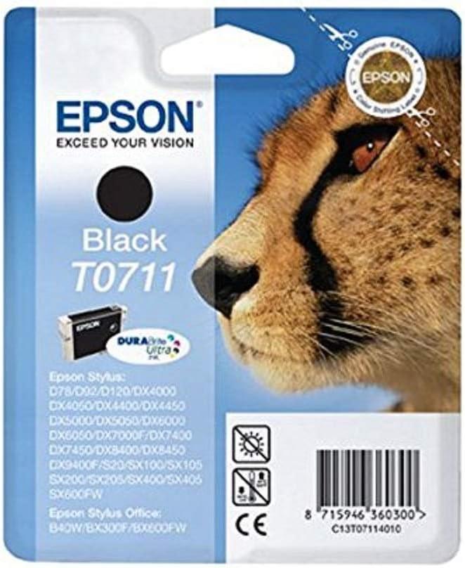 Epson Original T0711 Tinte Gepard Wisch Und Wasserfeste Singlepack Schwarz Bürobedarf Schreibwaren