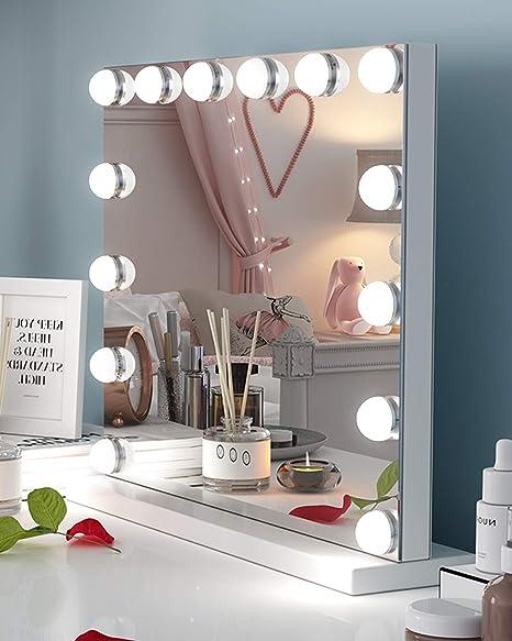 Specchi Con Luci Per Trucco.Ovonni Hollywood Specchio Per Trucco Con 14 Luci Specchio A Luce Led Illuminato Specchio Multiuso Per Il Trucco Hd Bagno Per Tavolo E Parete Touch