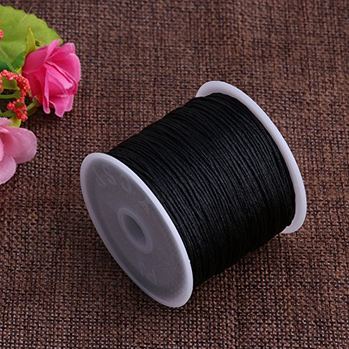 Kangnice 0.8mm Nylon Cord Thread Chinese Knot Macrame Rattail Bracelet Braided String 45M (Black)