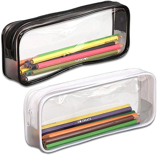 Uteruik - Estuche para bolígrafos, 2 Unidades, Gran Capacidad, Transparente, Bolsa de Maquillaje, artículos de papelería con Cremallera, Color Negro y Blanco: Amazon.es: Hogar