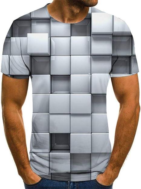 Blue and White Reflections Camisetas 3D de Hombre Camiseta Tridimensional Blanca del Cubo del Golpe Camisa 3DT Masculina Manga Corta Cuello Redondo impresión Digital Casual Manga Corta: Amazon.es: Deportes y aire libre