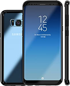 Galaxy S8 Plus Case,ROYBENS Clear Back and Slim Thin Excellent Grip Flexible Soft Silicone Gel Bumper Shockproof Full Body Protection Cover for Galaxy S8 Plus - Black Edge