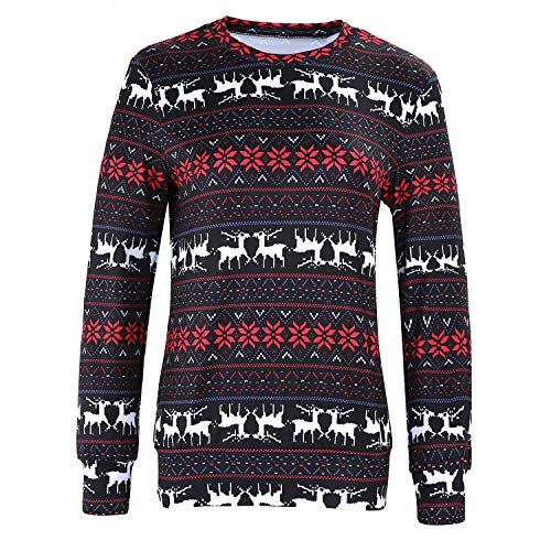 Femmes Pull Mode Tops Longues Géométrique Moderne À Manches Sweat shirt Imprimé De Noël Sweats Flocons Neige Casual Dames Noir FZCFxrB