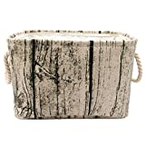 Jacone Stylish Tree Stump Design Wood Grain Rectangular Storage Basket Washable Cotton Fabric Nursery Hamper with Rope Handles, Decorative and Convenient for Kids Rooms (Medium)