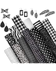 12 Sheets Black White Faux Leather Sheets 8 x 12 Inch Stripe Plaid Synthetic Leather DIY Earrings Craft Leather Fabric Leopard Faux Leather Fabric for Bag Hair Bow Head Band Making