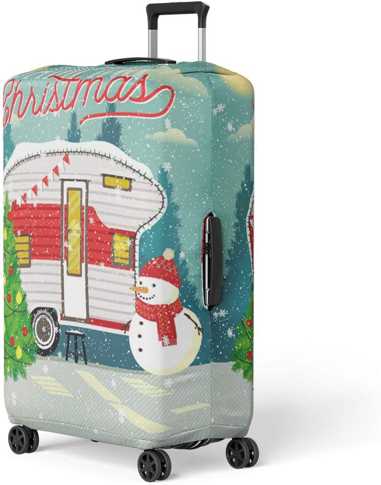 Pinbeam Luggage Cover Christmas of Mail Letter Rubber Stamp Vintage Travel Travel Suitcase Cover Protector Baggage Case Fits 18-22 inches
