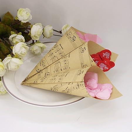 Bomboniere Fai Da Te Matrimonio.100 Pz Fai Da Te Coni Portaconfetti Carta Kraft Con Il Simbolo