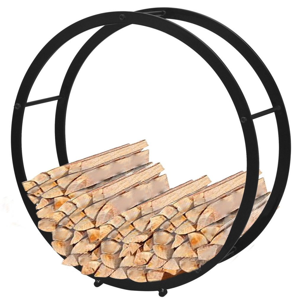Festnight Round Firewood Rack Carrier Storage Steel