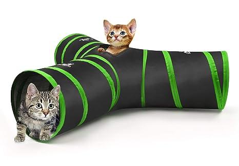 Pawaboo Túnel para Gatos, Prima 3 Vías Túneles Extensible Plegable Gato Jugar Túnel Casa del