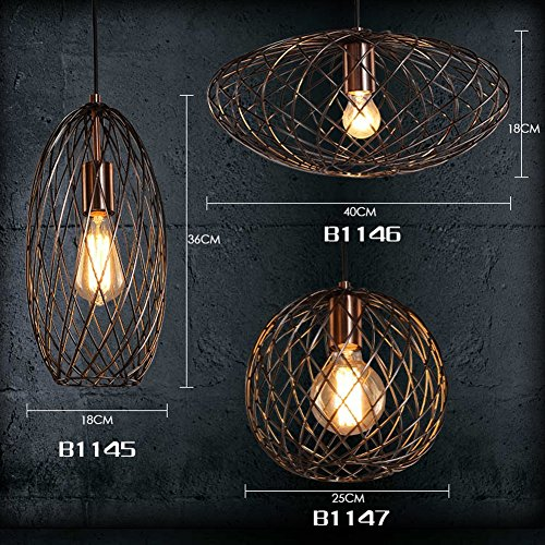 MINGZE 1-light Modern Oval Cage Pendant Light Copper and Metal ...