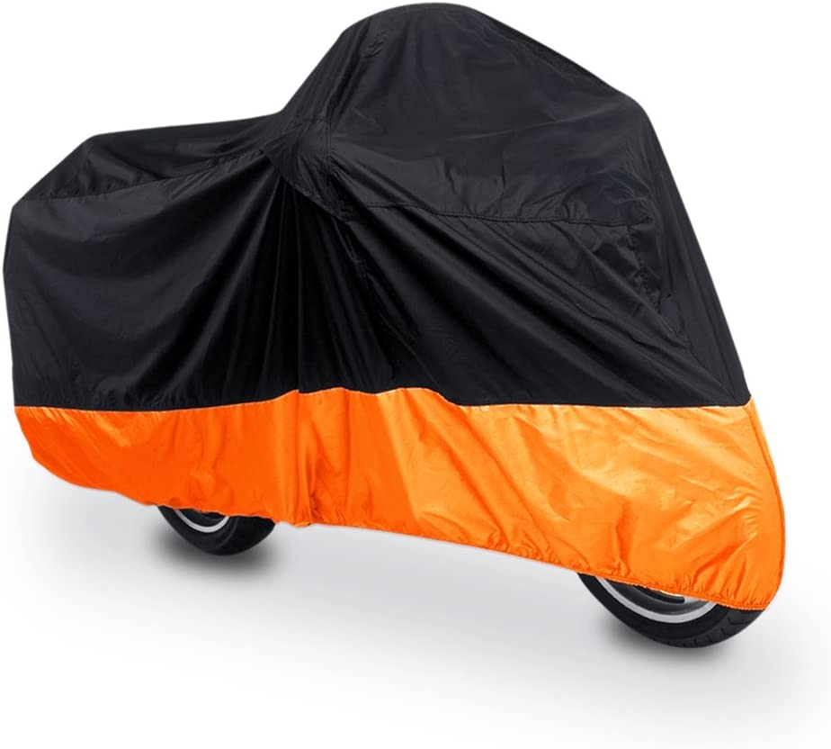 uxcell XL 180T Rain Dust Protector Black Orange Scooter Motorcycle Cover 96 for Yamaha Honda Suzuki Kawasaki Ducati Bmw