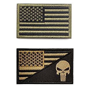 American Flag Velcro Patch Bundle ,2 Pieces Tactical USA Flag Punisher Patch