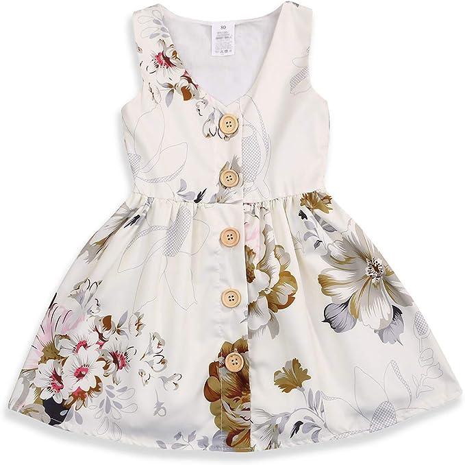 Amazon.com: Vestido de bebé para niña princesa, falda floral ...
