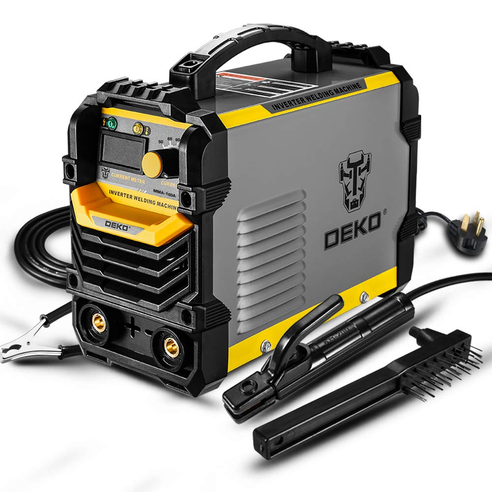 DEKOPRO 110/220V MMA Welder,160A ARC Welder Machine IGBT Digital Display LCD Hot Start Welder with Electrode Holder,Work Clamp, Input Power Adapter Cable and Brush by DEKOPRO