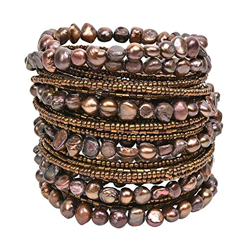 Around Pearl Wrap (AeraVida Mystique Cultured Freshwater Brown Pearl Around Wrap Bangle Bracelet)