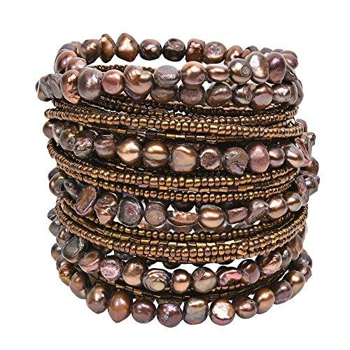 Pearl Wrap Around (AeraVida Mystique Cultured Freshwater Brown Pearl Around Wrap Bangle Bracelet)