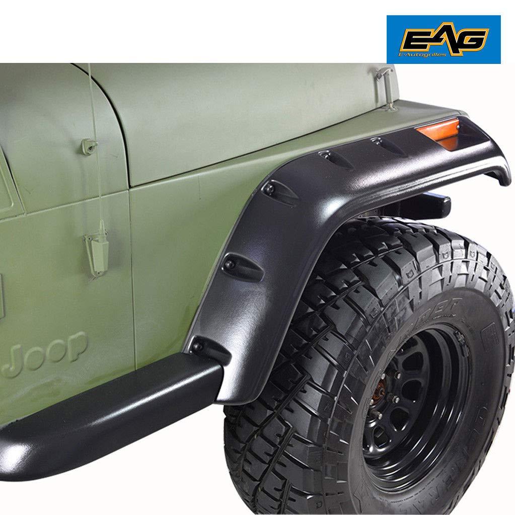 EAG Front Rear Fender Flare Wheel Cover Trim Pocket Rivet Style Fit for 87-95 Jeep Wrangler YJ