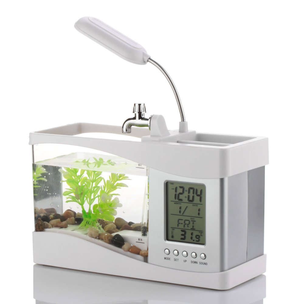 Amazon.com: Flexzion USB Desktop Aquarium Mini Fish Tank with ...