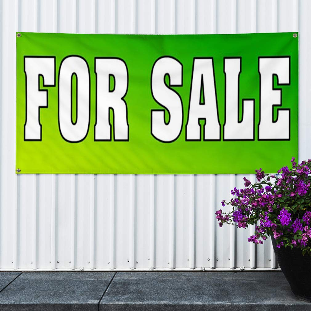 Vinyl Banner Sign for Sale Yellow Green Business Sale Marketing Advertising Green Multiple Sizes Available 6 Grommets 32inx80in Set of 2