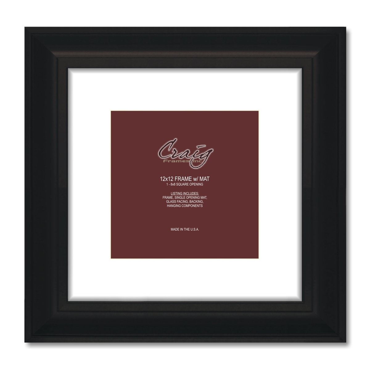 Craig Frames 16x16-Inch Picture Frame, Single White Mat with 1 12x12 Square-Inch Opening, Black