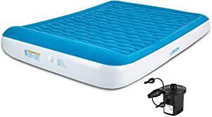 "Lunvon Queen Air Mattress for Home and Camping Outdoor Self Inflatable Pad Blow Up Bed with Built-in Pillow Anti-Leakage Raised Airbed Quick Rechargeable Pump for Guest Height 10"" 2-Year After Service"