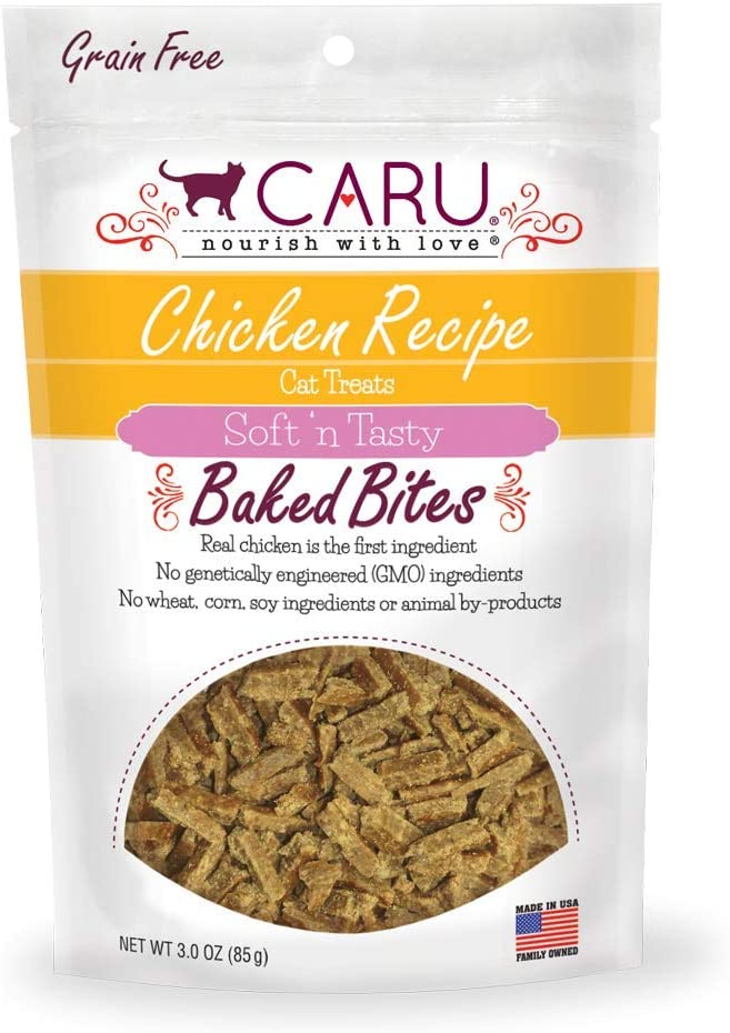 Caru - Chicken Recipe, Soft 'N Tasty Baked Bites All-Natural Cat Treats, Real Chicken, Non-Gmo Ingredients, No Wheat, Corn Or Soy (3 Oz), Model Number: 10851395005302