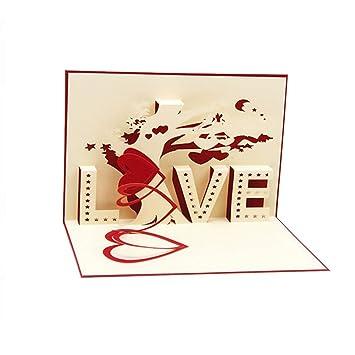 LAYs 3D Pop Up Card Love Tree Heart For Valentine Day Boyfriend Girlfriend  Wife Husband Marriage