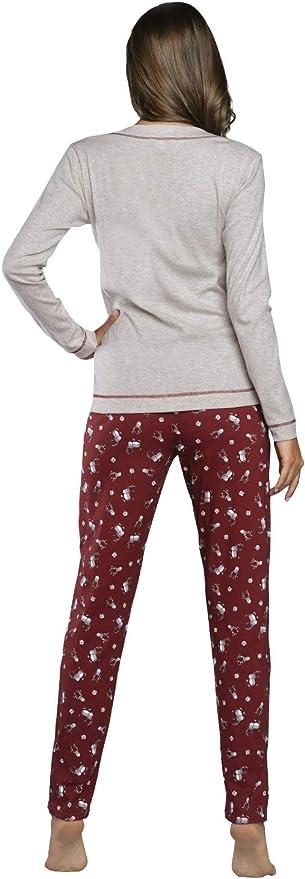 Italian Fashion Pijama Largo Mujer Top y Parte Inferior Ropa de Dormir Rosa Gris