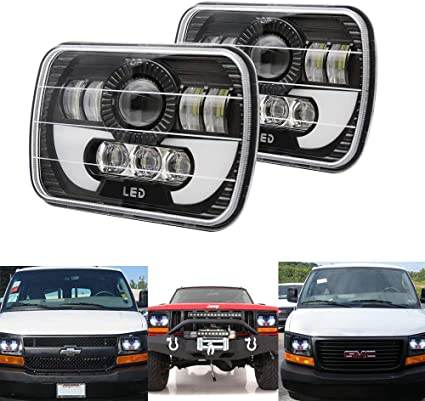 Colight T002N-2pcs LED Rectangular Headlight Projector 7x6 5x7 inch Sealed Beam Replacement Hi//Lo Beam DRL Fits Headlamp Bulb for Wrangler