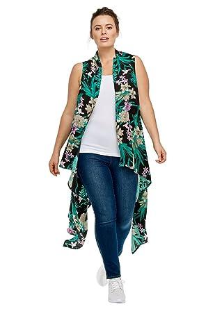 63d27bb4652 Ellos Women s Plus Size Printed Open Front Duster Vest - Black Floral